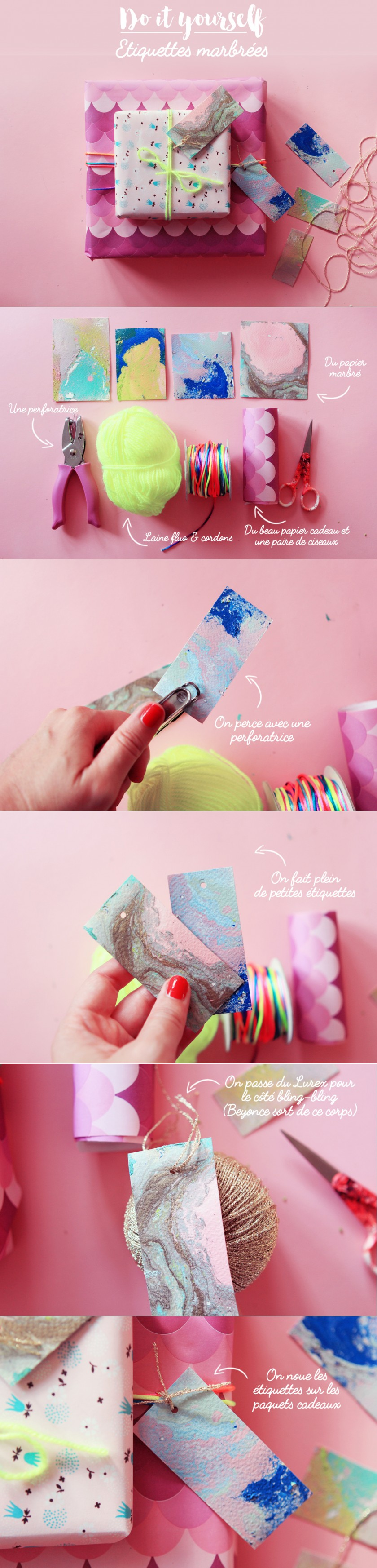 papier cadeau marbre pastel do it yourselft